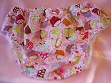 "ADULT BABY SISSY MAID PINK CUPCAKE BIKINI PANT NOISY  PLASTIC LINED 38"""