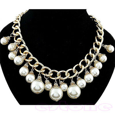 Lady's Attractive Elegant Faux Pearl Beads Golden Chain Fashion Pandent Necklace