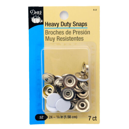 7 Sets//Package 5-2 5//8 Inch Size 24 Dritz Heavy Duty Snaps White