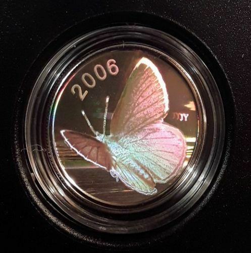 2006 Canada 50 cent Sterling Silver Butterfly Coin Silvery Blue