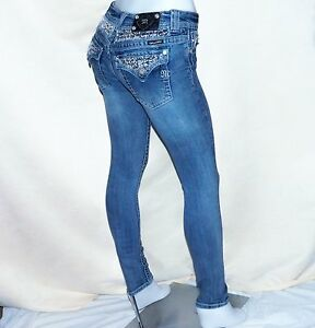 Miss-Me-Vintage-Wash-Embroidered-Sequin-Blue-Denim-Skinny-Jeans-28-x-31-JP6095S