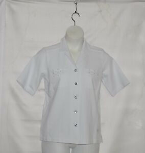 Details about Quacker Factory DreamJeannes Eyelet Short Sleeve Camp Shirt  Size S White