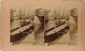 1870-1879 SV The Nile Bridge, Cairo, Boats, Harbor Sepia Lg. Format Stereoview