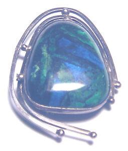 Mid-Century-MODERNIST-Sterling-EILAT-Gemstone-HAND-MADE-PIN-Pendant-ISREAL