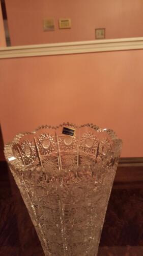 Large Gorgeous Czech Bohemian Hand Cut Crystal Glass Vase  - Brand New!!!