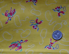 1 1/2 yd 1950's juvenile print cotton fabric, Red cowboys and cowgirls, Dale & R