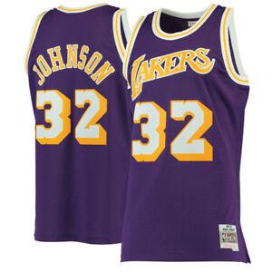 watch 8997d cfab6 Details about Magic Johnson #32 Lakers Mitchell & Ness NBA Mesh Swingman  Jersey Purple