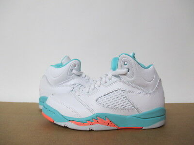 quality design 581c5 ac45f AIR JORDAN 5 WHITE LIGHT AQUA CRIMSON PULSE PRE SCHOOL 11-3 | eBay