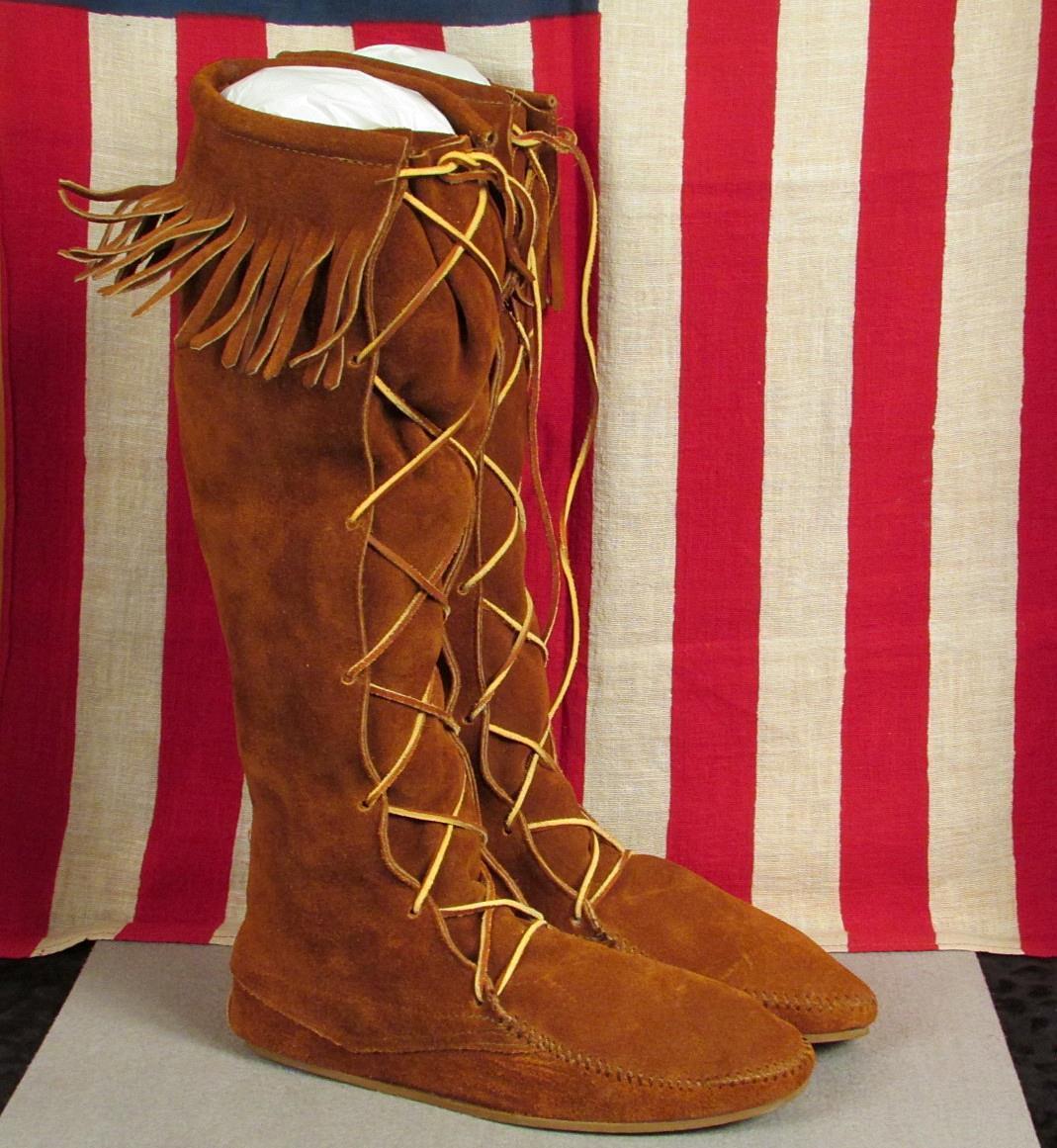 Vintage Mujeres Cuero Marrón botas Altas Hasta La Rodilla Alta Mocasín Con Flecos Nuevo Viejo Stock talla.9 Nuevo