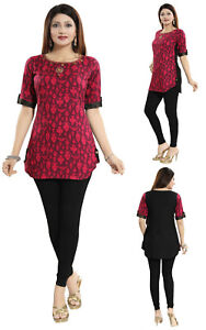 Unifiedclothes-Short-Kurti-Tunic-Printed-Kurta-Shirt-Cotton-Pink-Dress-MM211