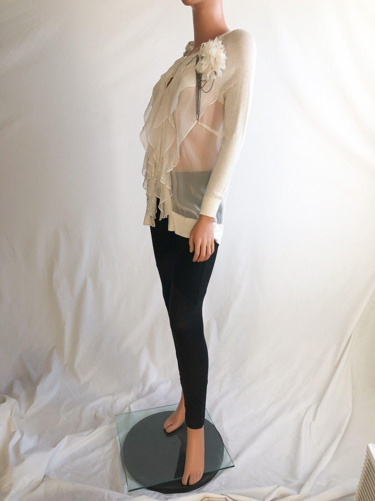 Haute hippie Long Sleeve Applique Weiß Embellished Viscose Sweater Größe S