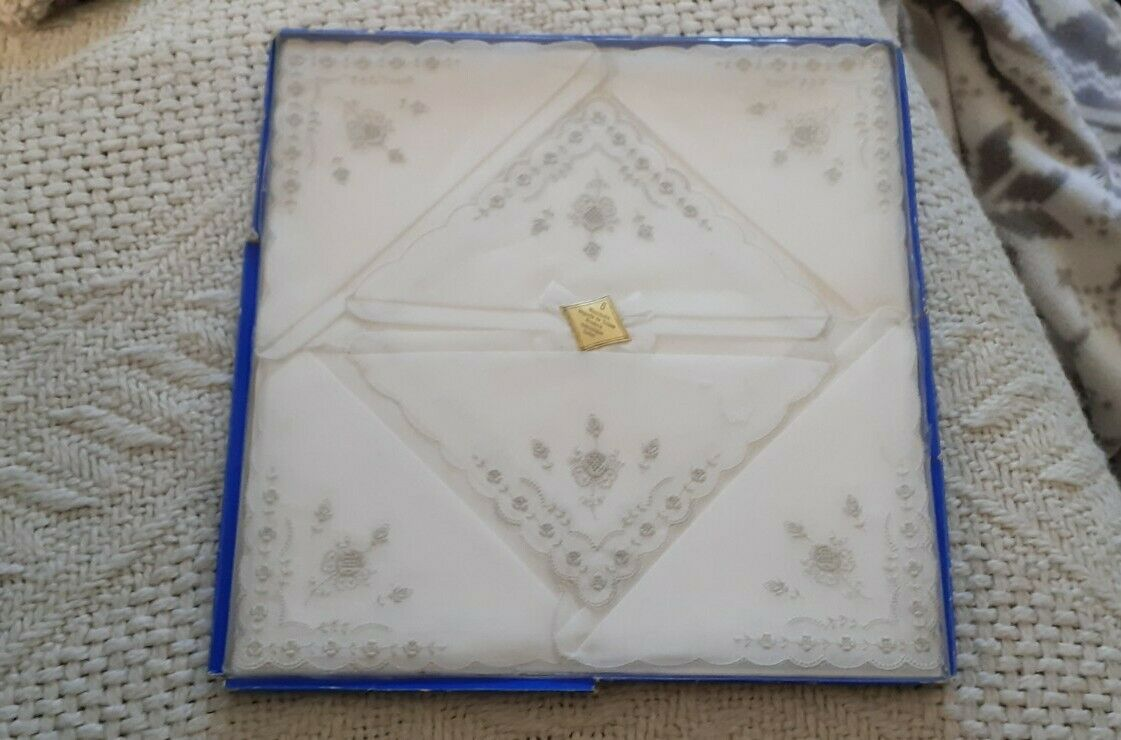 6 new vintage handkerchiefs embroidered made in switzerland white and grey-show original title