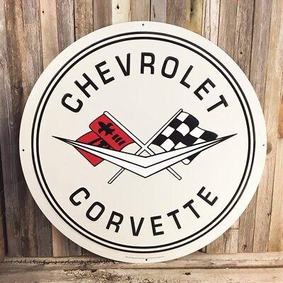 """Chevrolet Chevy Genuine Black Blue Bowtie Logo 24/"""" Round Metal Tin Sign Garage"""
