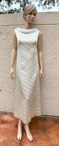 70's NELLY DE GRAB JACKIE-O METALLIC SILVER LONG D