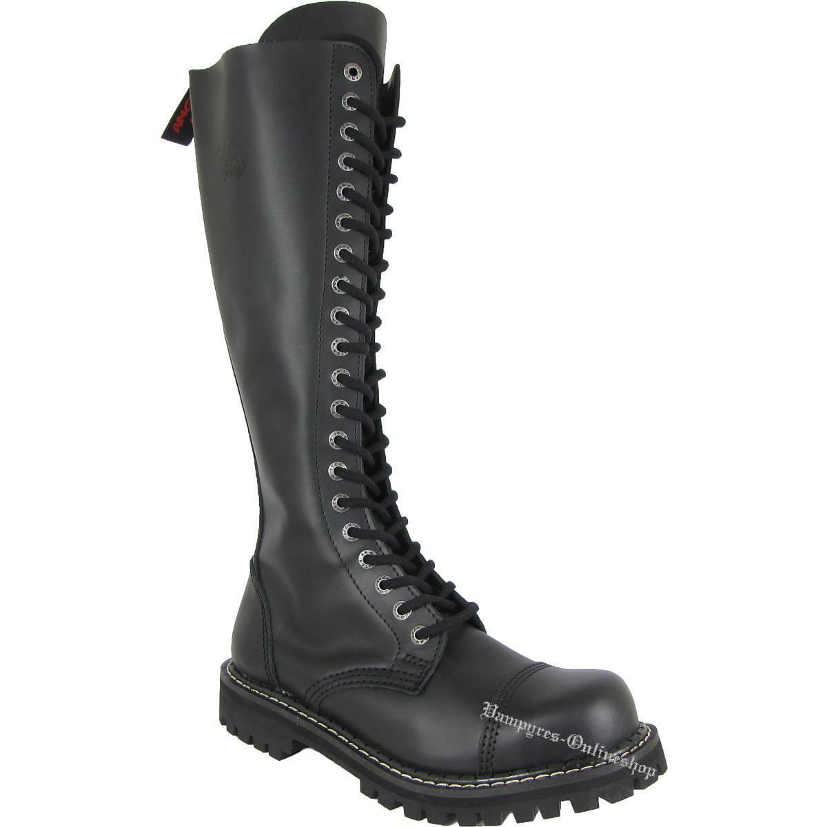 Angry Itch 20 fori nero zip cerniera Rangers Stivali di pelle cappuccio acciaio