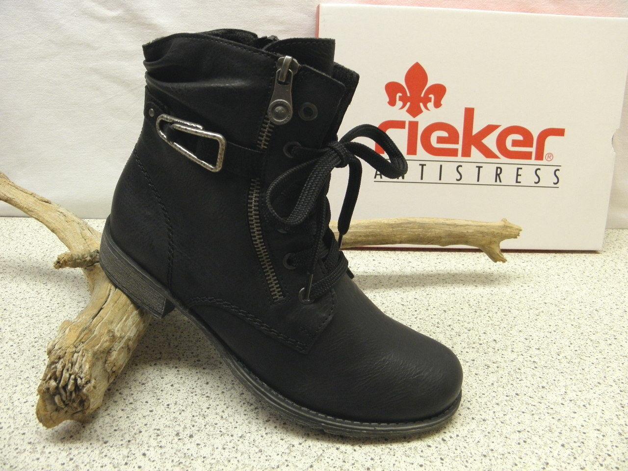 rieker ® ROTuziert Top Preis    Topmodisch Stiefel  schwarz (R408)