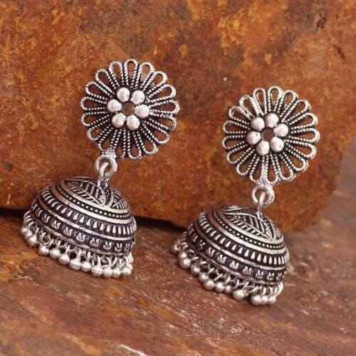 Oxidized Silver plated New Bollywood Jhumka Jhumki Traditional Earrings Women ##