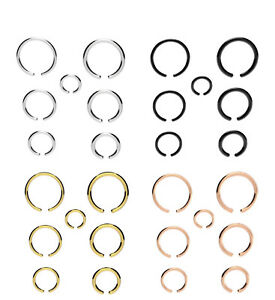 Fake-Piercing-Ring-Nose-Lip-Ear-Body-SILVER-BLACK-GOLD-Various-Sizes-amp-Gauges