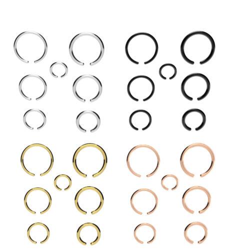 Negro Oro Artificial Anillo Piercing Nariz Labios Oreja Cuerpo Plata