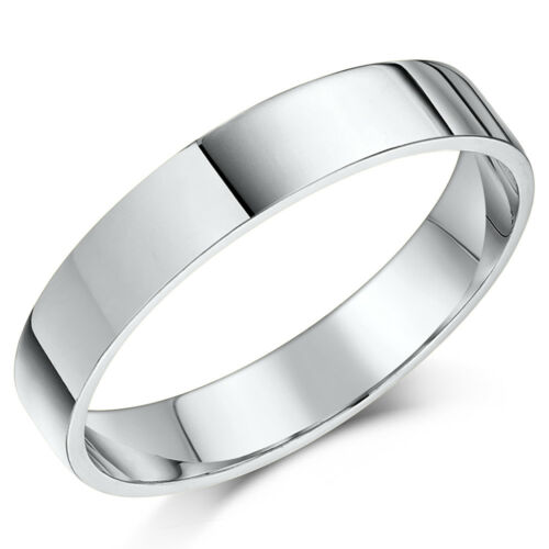 His /& Hers 9ct White Gold Flat Shaped Wedding Ring Sets 3/&5mm 4/&6mm