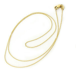 "10k Solid Yellow Gold 0.9mm Adjustable Cable Chain 22/"" Lobster Claw"