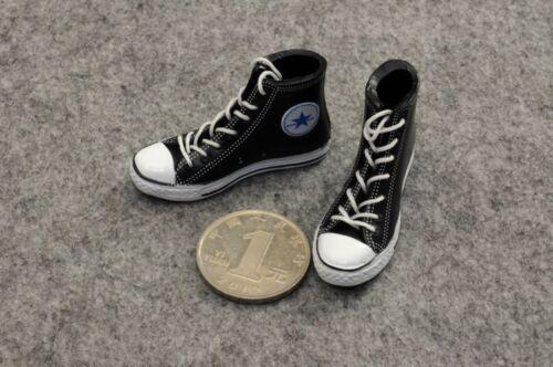 """Male Man Straps Black Canvas Dress Shoes 1:6 Scale ZY Toys Model Fit 12/"""" Figure"""