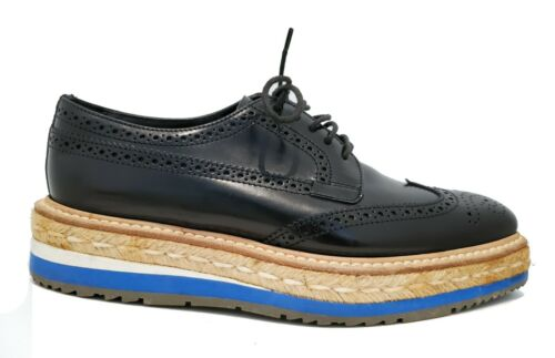 PRADA Black BROGUE Wingtip Espadrille Blue White P