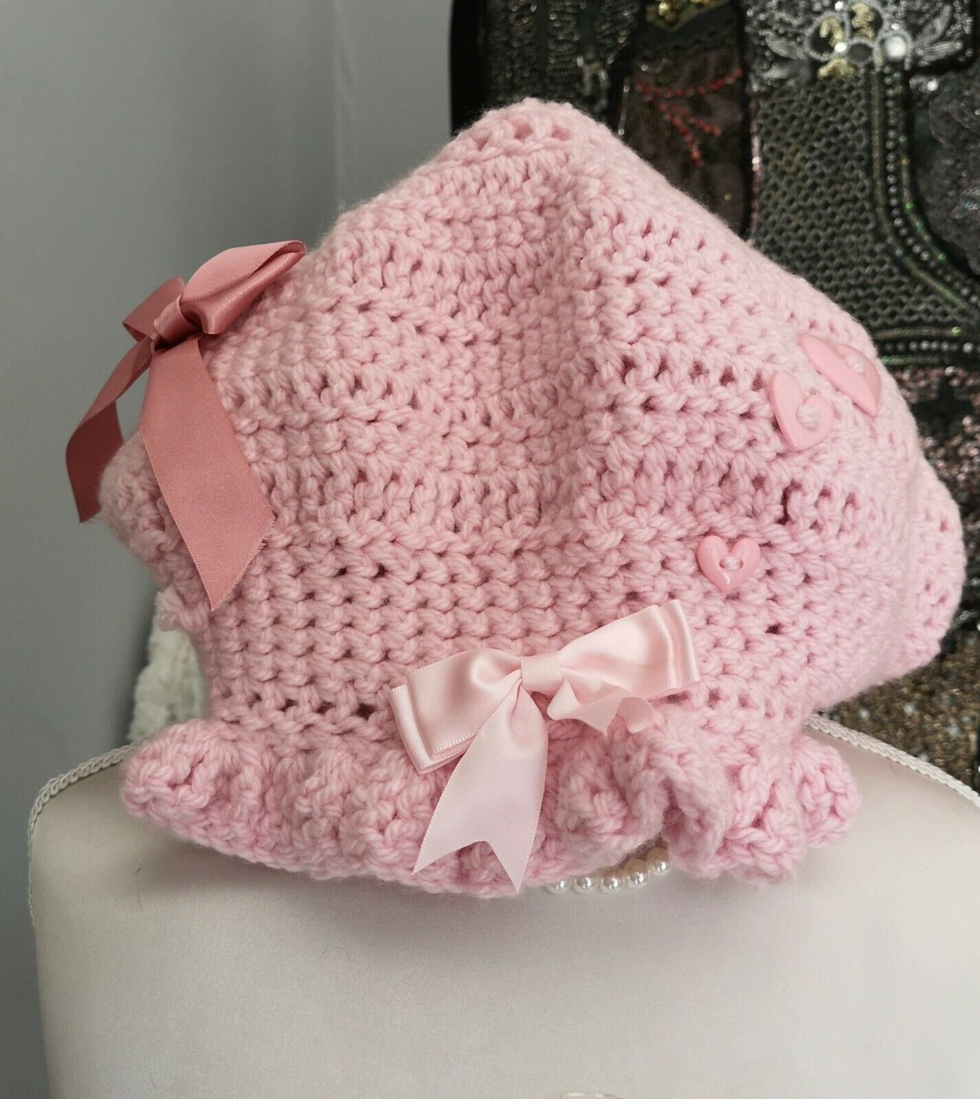 Hippie Boho Hat Slouchy pale pink crochet adult handmade matching frilly mits.