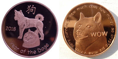 2018 Dogecoin Physical Rare Coin Copper Year of the Doge Like Bitcoin Shibe Mint