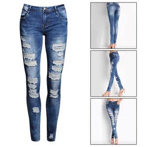 5bd606015 La imagen se está cargando Mujer-Chica-Moda-Jeans-Pantalones-Vaqueros -Ajustado-De-