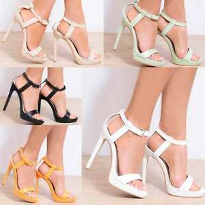 WOMENS STRAPPY SANDALS PLATFORMS ANKLE STRAP STILETTO HIGH HEELS SHOES SIZES