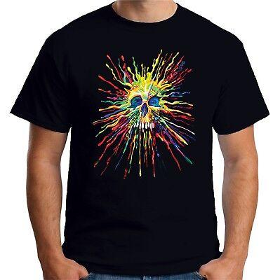 Velocitee Ladies T-Shirt Colourful Splat Skull Festival Rave A21569