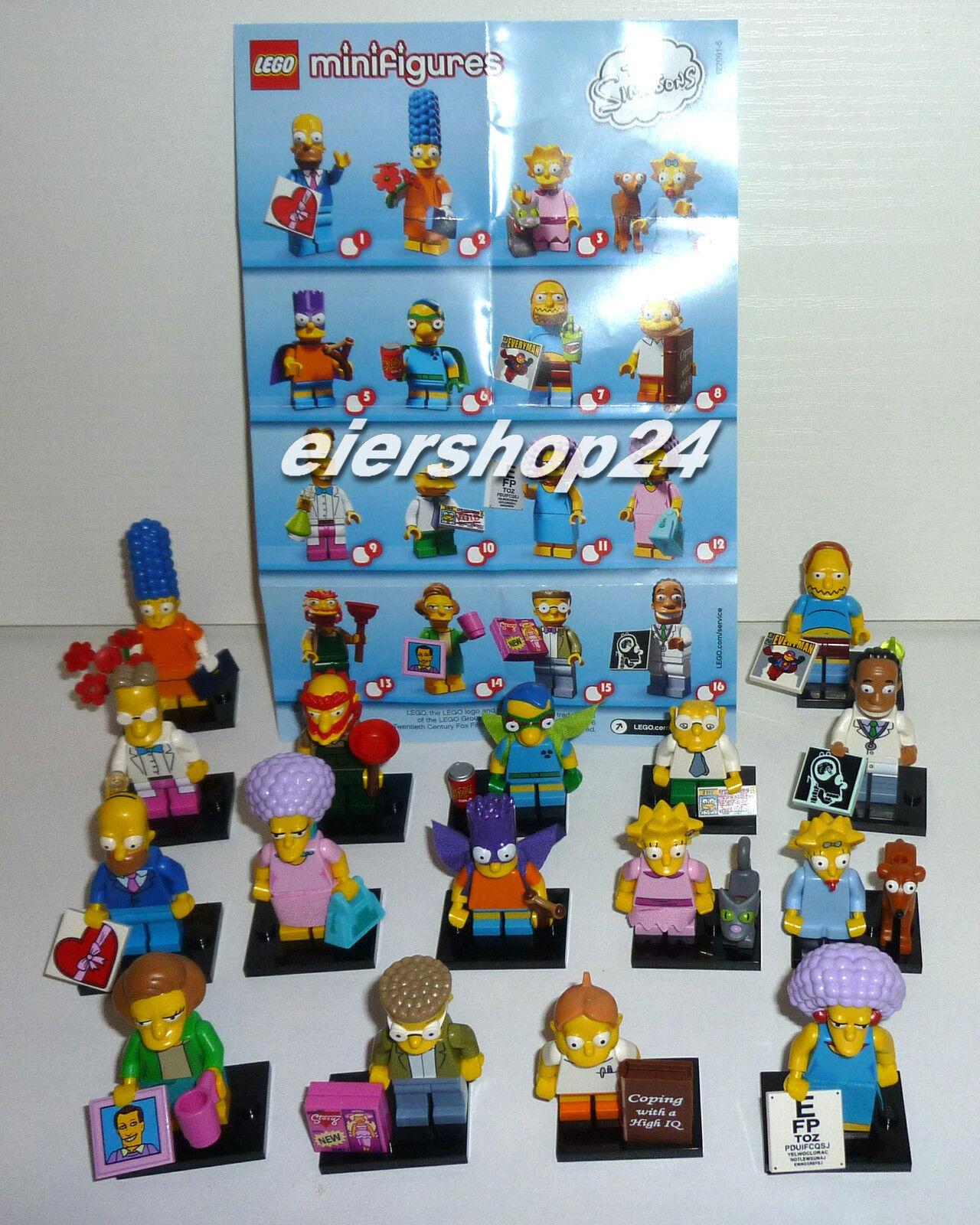 Kompletter Satz LEGO SIMPSONS  71009 Minifiguren Serie 2 inkl. aller BPZ
