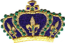 CROWN w/FLEUR DE LIS - MARDI GRAS -NEW ORLEANS - Iron On Embroidered Applique