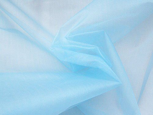 "SPARKLE ORGANZA FABRIC LIGHT BLUE 45 /"" BY THE YARD"