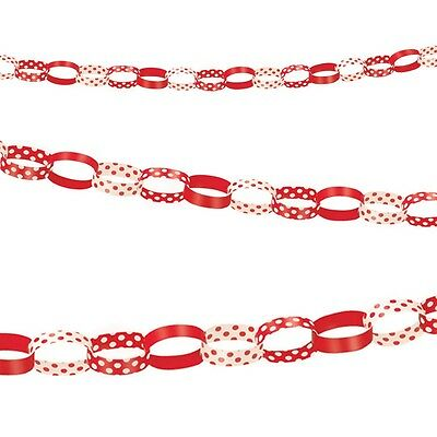 5ft Red White Polka Dot Spot Style Party Paper Chain Garland Decoration