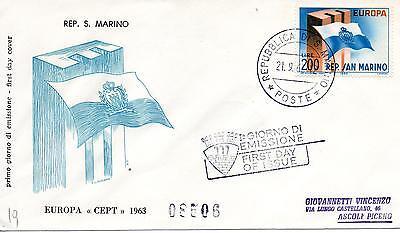 Klug San Marine 1963 Fdc Filagrano Europa Racc Briefmarken
