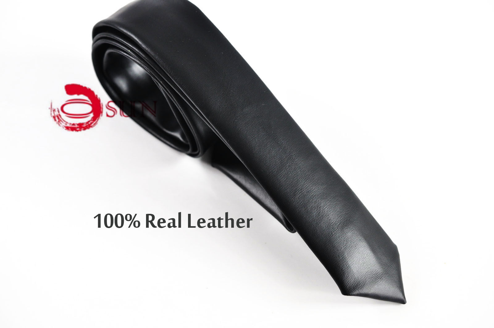 men skinny black 100 quality real genuine leather necktie neck tie wedding ebay. Black Bedroom Furniture Sets. Home Design Ideas