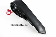 Men Skinny Black 100% Quality Real Genuine Leather Necktie Neck Tie Wedding