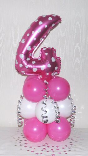 AGE 2 GIRL TWO PINK HEART NUMBER  FOIL BALLOON TABLE DECORATION DISPLAY