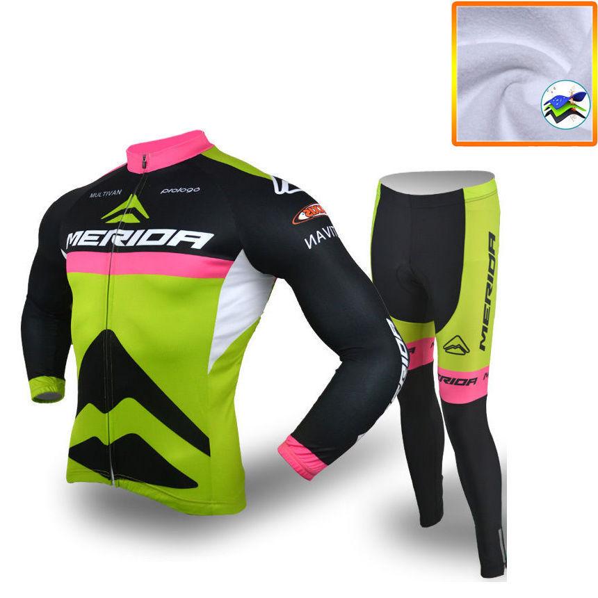 Merida Thermal Winter Bicycle Clothing Fleece Long Sleeve Jersey and Pants Kit