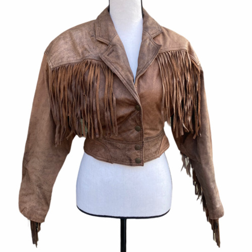 Vintage Chia Brown Leather Western Fringe Moto Cro