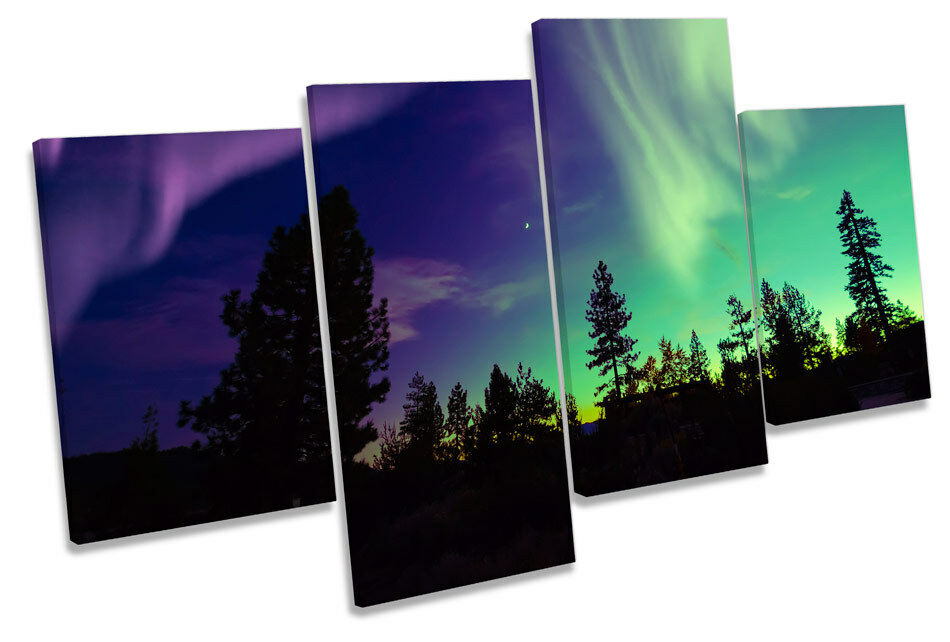 Northern Lights Night Space MULTI CANVAS WALL ART Print Picture