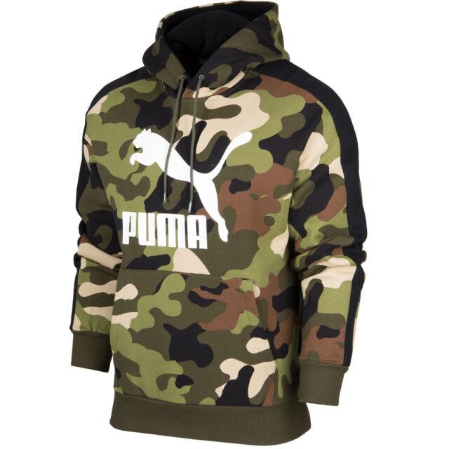 Mens Puma Jumper Pullover Overhead Hoodie Fleece Black Kangaroo Pocket M L