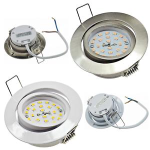 Flache SMD LED Einbauleuchten Silber230V5WWarmweissET=32mm2900k