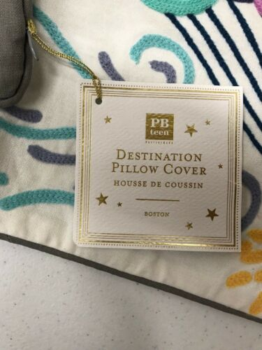 """NEW Pottery Barn TEEN Destination BOSTON Embroidered 12x24/"""" Lumbar Pillow Cover"""