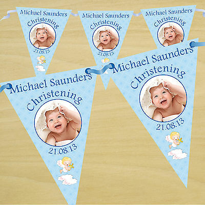 Personalised Boys Christening Baptism Party PHOTO Flag Banner Bunting - N3