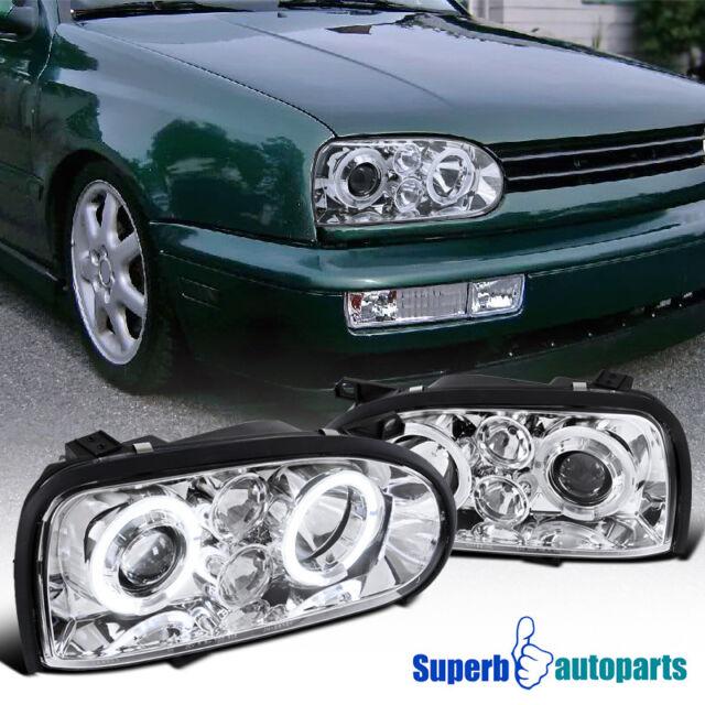 For 1993 1998 Vw Golf Cabrio Mk3 Halo Projector Headlights Chrome
