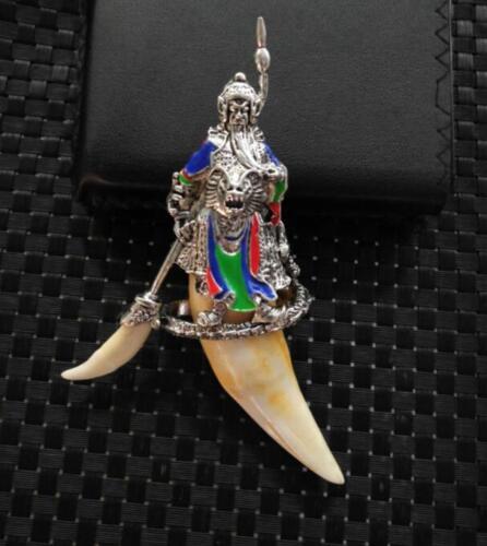 Chinese Antique Tibetan silver Guan Gong pan long Tiger tooth pendant