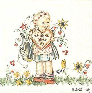 Lot De 2 Serviettes En Papier Fillette Saint Valentin Decoupage Decopatch